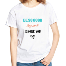 Women Fashion Inspirational Letters Printed T-shirt Tee Casual Female Bowknot Short Sleeve