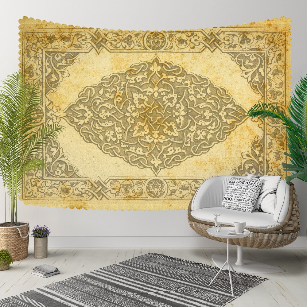 Else Yellow Gray Persian Kilim Design Authentic 3D Print Decorative Hippi Bohemian Wall Hanging Landscape Tapestry Wall Art