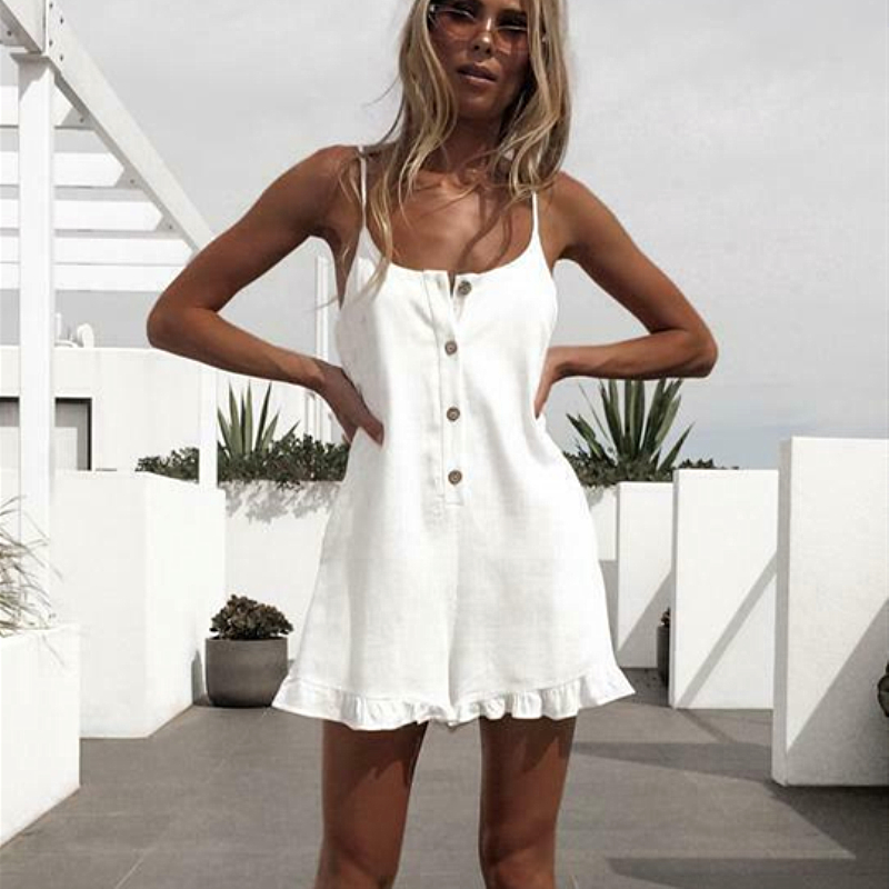 Women Sleeveless Solid Playsuit Ladies Casual Holiday Beachwear Summer Beach Loose Mini Shorts   Rompers