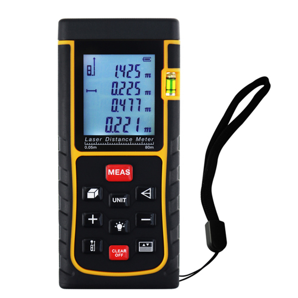 80m Laser Distance Meter Area Volume Pythagorean Measurement Spirit Bubble Level Industrial Tool variety models available round bubble level mini spirit level bubble bullseye level measurement instrument