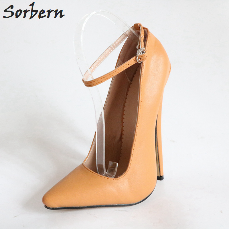 Sorbern Light Brown Pionty Toes Pumps Women Ankle Straps Ladies Pumps Plus Size Women Heel Shoes High 18Cm High Heel Shoes цена