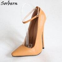 Sorbern Light Brown Pionty Toes Pumps Women Ankle Straps Ladies Pumps Plus Size Women Heel Shoes High 18Cm High Heel Shoes