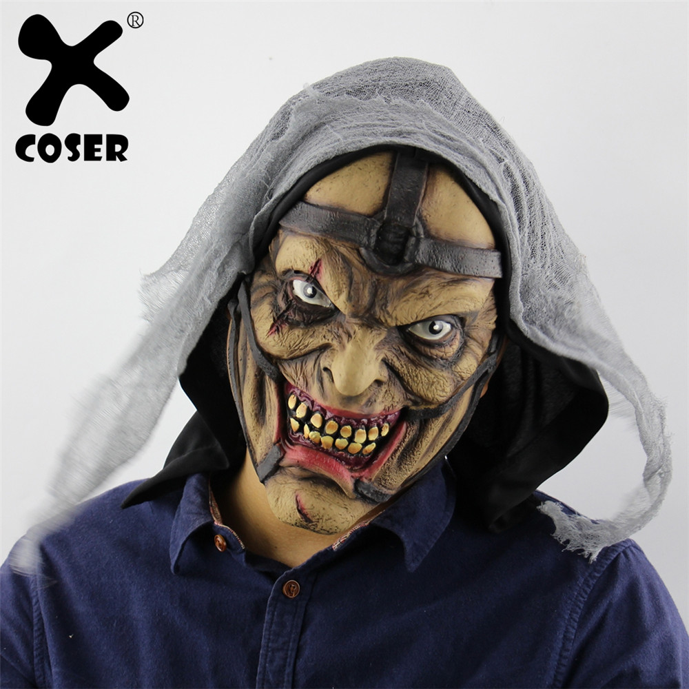 XCOSER Horror Halloween Witch Cosplay Mask Sorcerer Pegs Male Mask Latex Ghost Mask Headgear Scary Mascara Carnival Party Prop