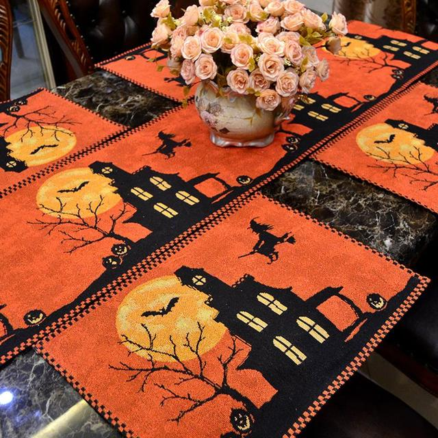 table runner halloween party decoration placemat 33x180cm 33x46cm black branch witch tablecloth haunted house decoration