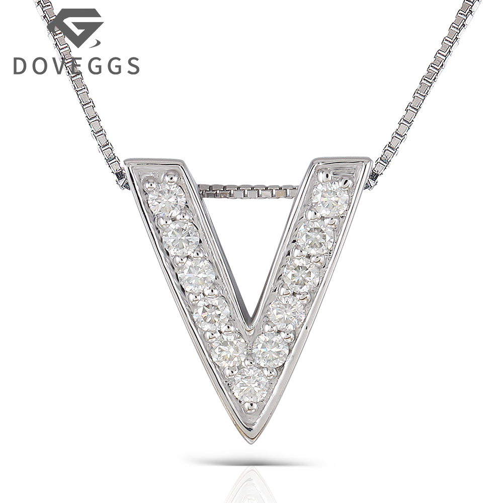 DOVEGGS Letter Necklace Platinum Plated Silver 0.385CTW Round Brilliant Moissanite V Shaped Pendant Necklace for Women цены