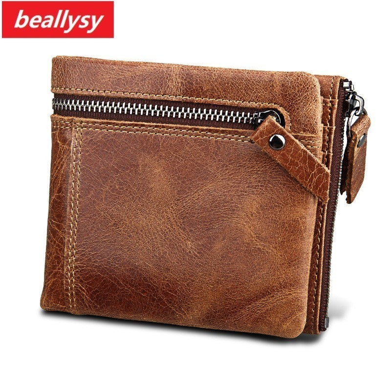 2018 New 100% Genuine Leather Men Wallets Man Famous Small Short portomonee with Coin Zipper Mini Male Purses Card Holder Walet
