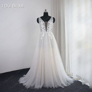 Image 2 - Pearl Wedding Dress with Lace Appliques Boho Chic Bridal Gown Beach Style Light Weight Factory Real Photo