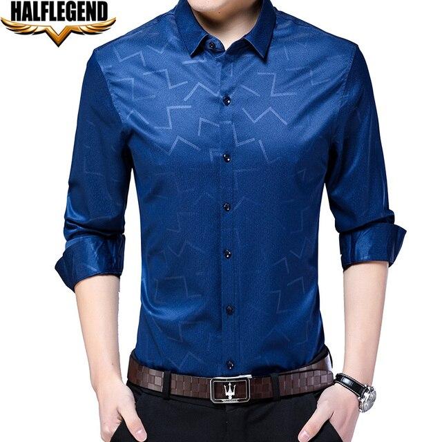 1ea964554c2 HALFLEGEND 2018 Spring Men Shirt Long Sleeve Casual Button Down Slim Fit  Geometric Printed Big Tall Dress Shirts Fit Blue Black