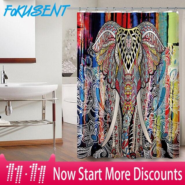 FOKUSENT Nuovo Disegno di Stampa Mandala Elefante Variopinto Modello Figura di F