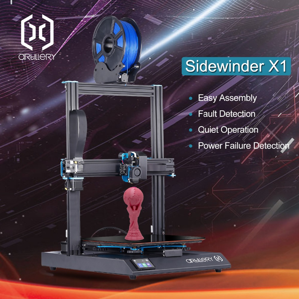 2019Newest Artillery Sidewinder X1 3D Printer Ultra quiet Driver TFT Touch Screen Dual Z axis Resume
