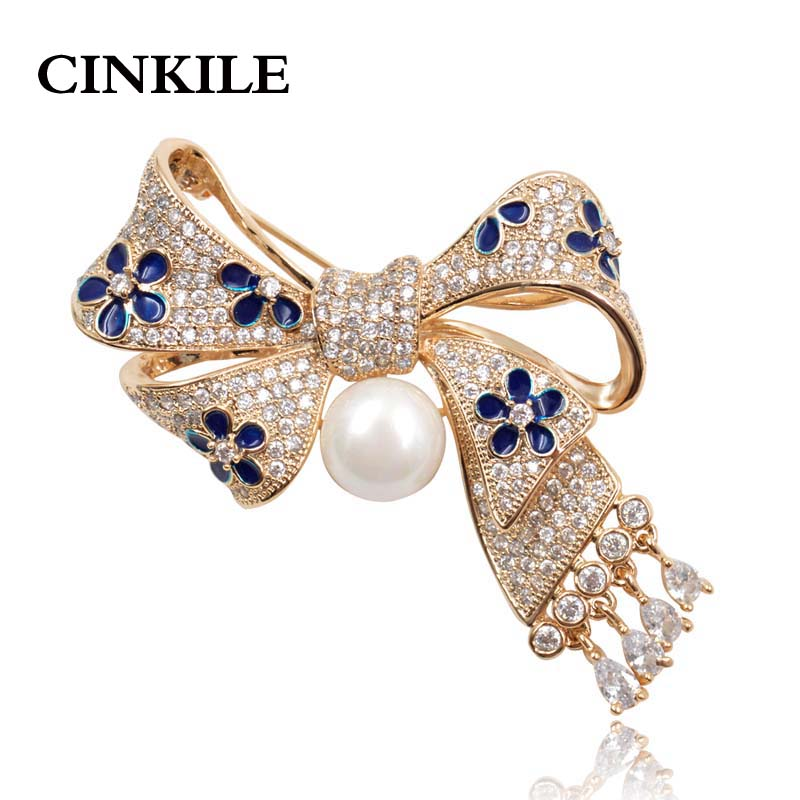 AAA Zircon Micro-pave Bow Brooches for Women Exquisite Bowknot With Pendant Brooch Pin Wedding Jewelry Bijouterie