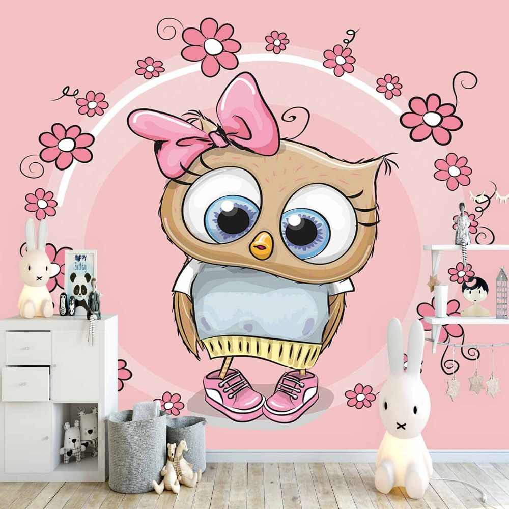 Else Pink Flowers Circle Frame Cute Girl Owl 3d Print