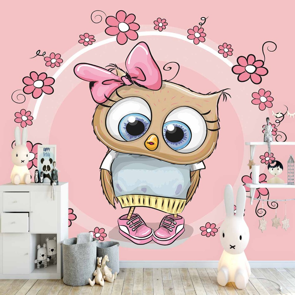 Else Pink Flowers Circle Frame Cute Girl Owl 3d Print Cartoon Cleanable Fabric Mural Kids Children Room Background Wallpaper