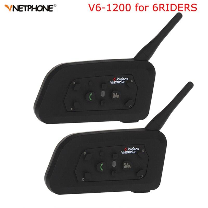 Vnetphone 2 pcs V6 moto rcycle Interphone 1200 m Bluetooth Casque Interphone Casque intercomunicador moto Sans Fil pour 6 Coureurs