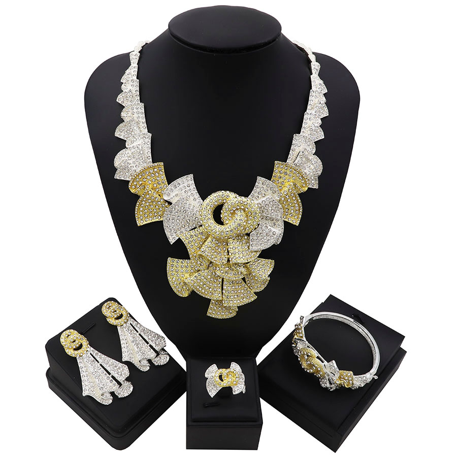 TSROUND Luxury Bowknot Flower Cubic Zircon Earring Necklace Set Indian African Bridal Jewelry sets For Women