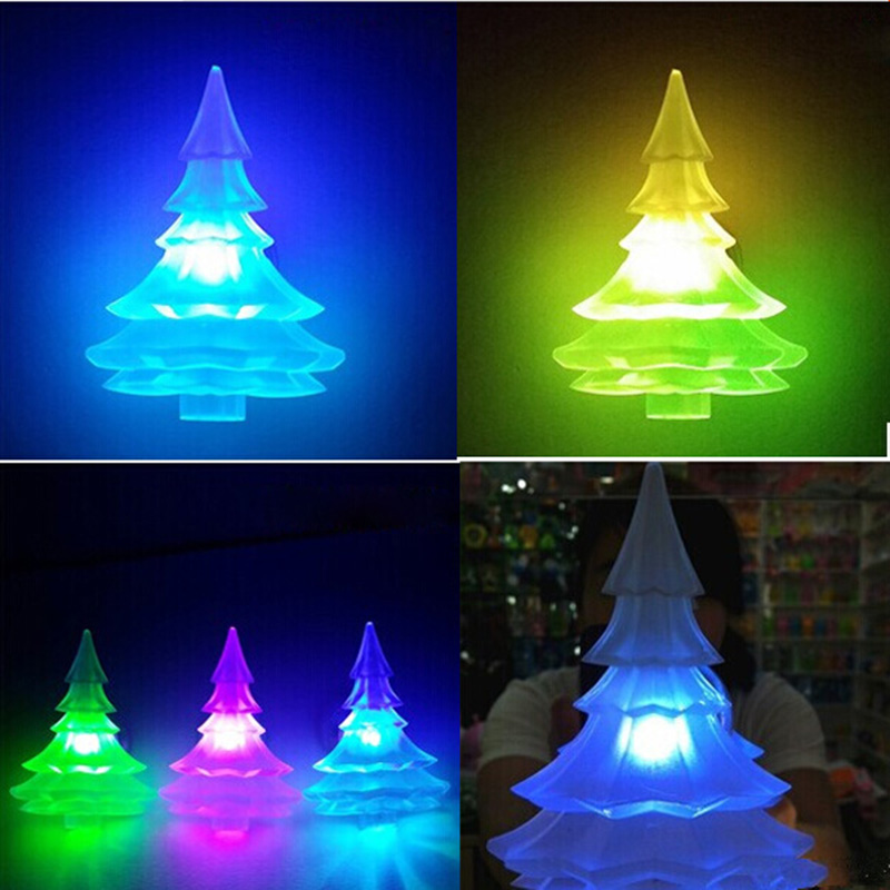 5PCS Christmas Tree Design LED Light Color Glow Change Suction Christmas Holiday Decorating Night light Gift For Children T30