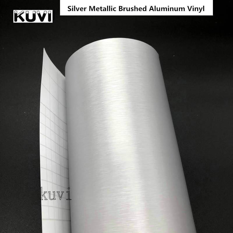 20cm/30cmx152cm Car Styling Silver Metallic Brushed Aluminum Vinyl Matt Brushed Car Wrap Film Sticker Decal With Bubble|brushed aluminum vinyl|vinyl mattebrushed aluminum - AliExpress