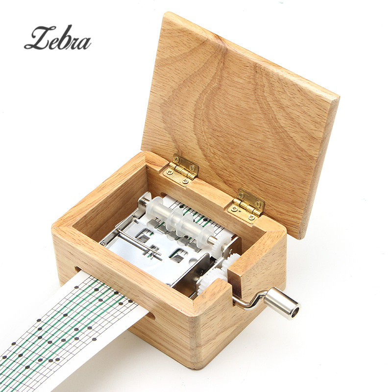 Zebra DIY Hand-cranked Music Box Wooden Box With Hole Puncher And Paper Tapes Musical Instrument Clarinet Harmonica Saxophone timberland часы timberland tbl 15260jsu