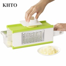 KHTO Kitchen Vegetable Slicer Gadget Friut Cutter 4 in 1 Portable Stainless Steel Blades Multifunctional Tool
