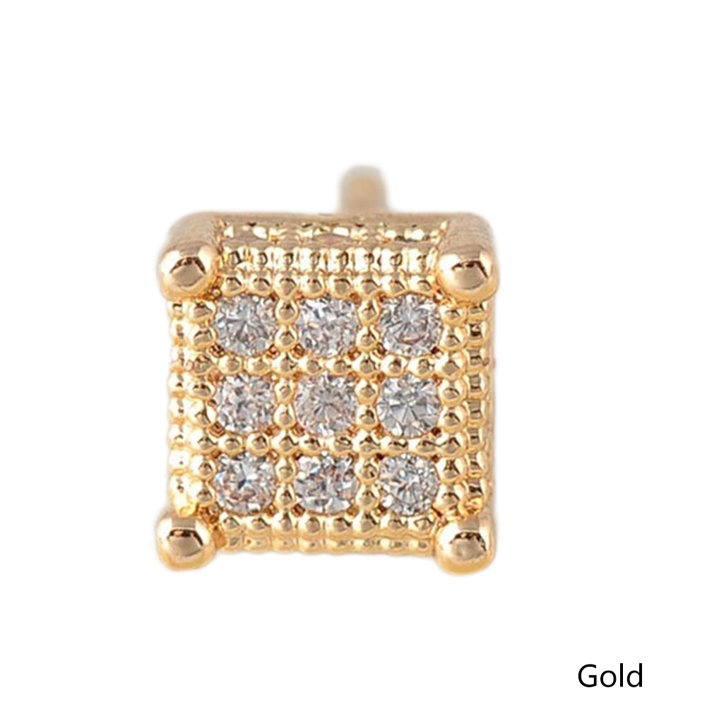 Trendy Man Women Square Stud Earrings Cubic Zircon Earrings Wedding Jewelry