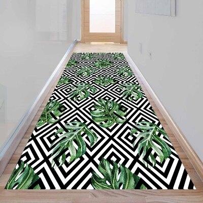 Else Green Leaf Black White Tile Geometric 3d Print Non Slip Microfiber Washable Long Runner Mat Floor Mat Rugs Hallway Carpets