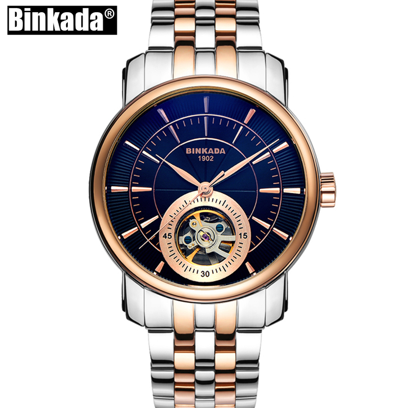 New BINKADA Automatic Mechanical Watch Skeleton Self-Wind Man Tourbillon Fashion Casual Analog Wristwatch k colouring women ladies automatic self wind watch hollow skeleton mechanical wristwatch for gift box
