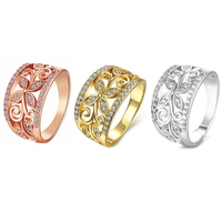 Fashion Rhinestone Hollow Flower Pattern Wide Ring Lady Palace Style Finger Band