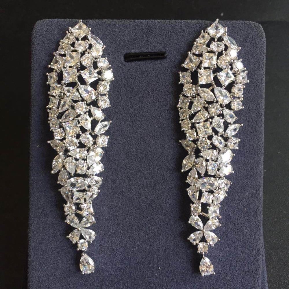 Luxury Wedding Earrings Long Waterfall Shaped Full Zirconia Stone Pendant Statement Earrings Eneagement Jewelry Brincos rhinestone feather fan shaped boho jewelry earrings