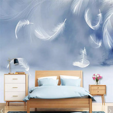HD simple white feather background wall professional production mural factory wholesale wallpaper poster photo