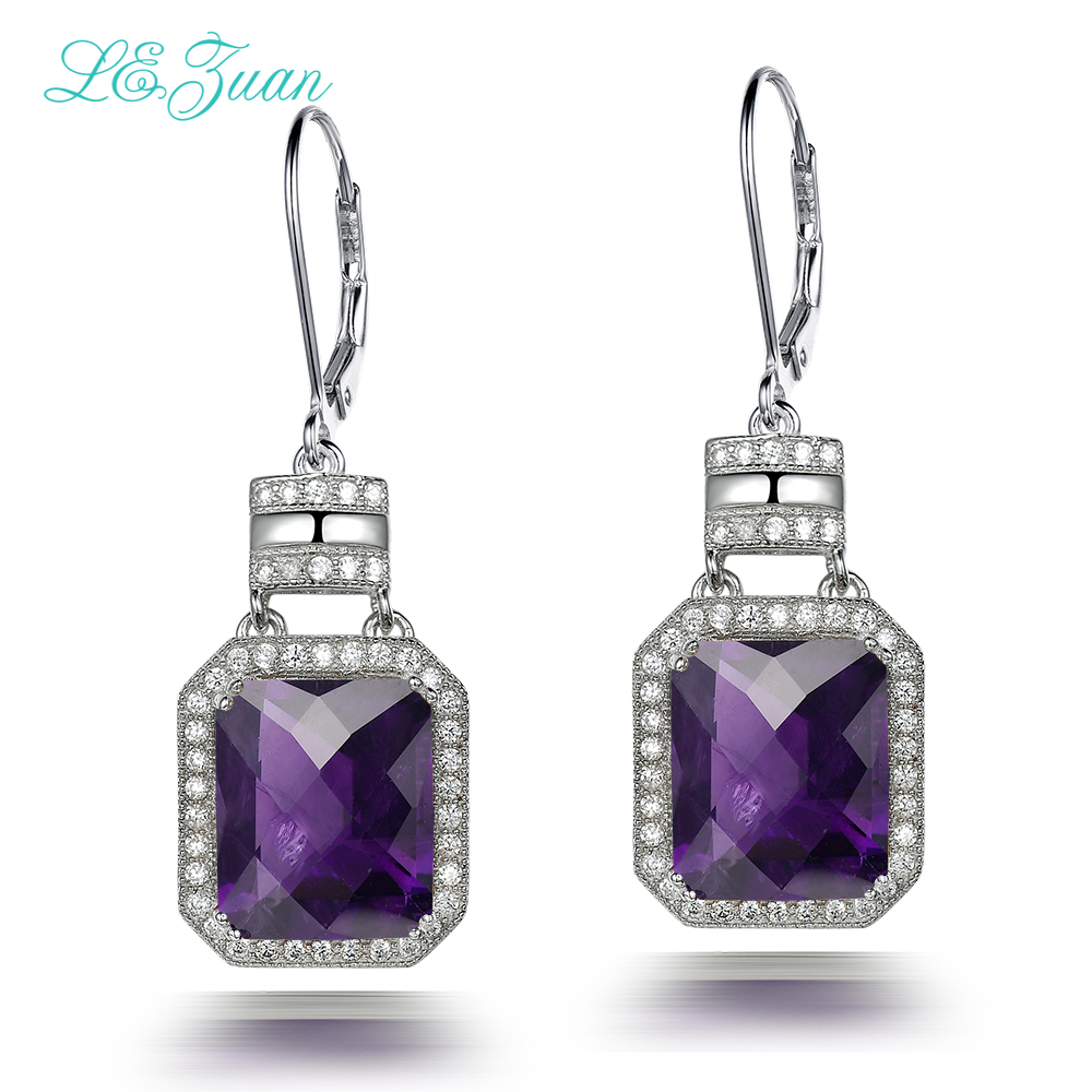 цена на l&zuan Vintage Drop Earrings For Women 925 Sterling Silver Natrual 11.20ct Amethyst Quartz Geometric Fine Jewelry E0053-W06