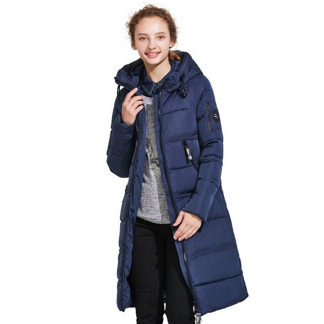 ICEbear 2017 Женское зимнее модное пальто из высококачественного и ветрозащитного материала с боковыми карманами и трикотажными рукавами и капюшоном 17G666D