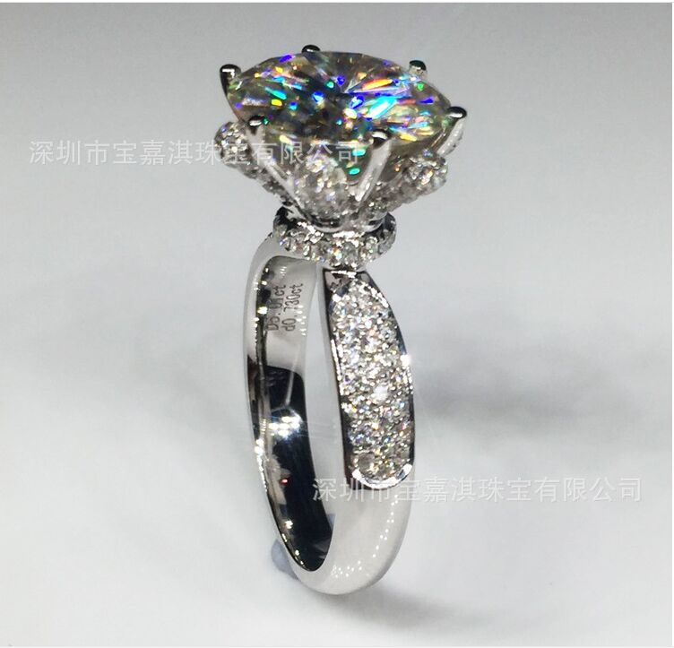 цена Luxury Rose 1-2-3-4 Carat Silver Ring High End Carbon Carbide for Carolina payment