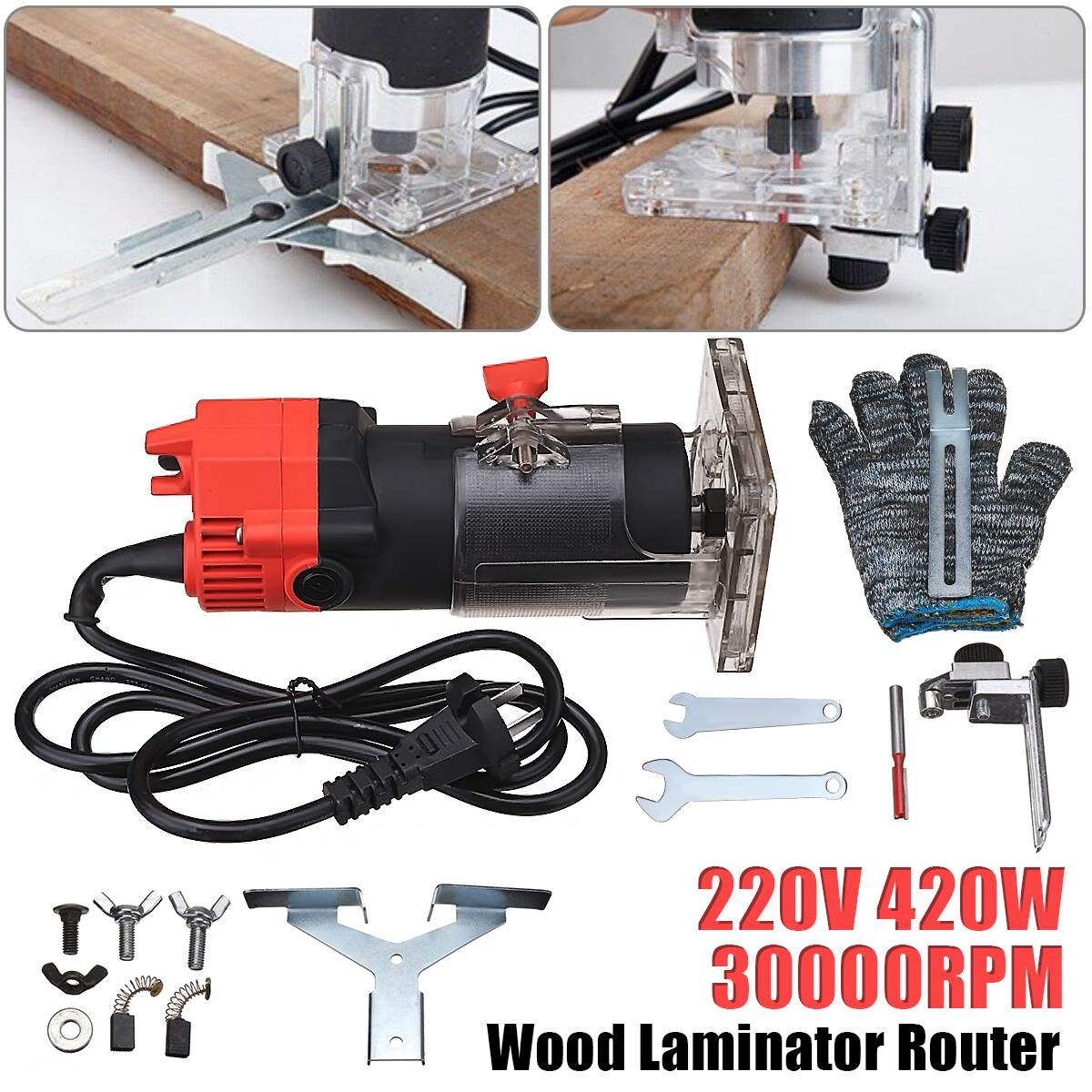 New 220V 420W 30000RPM Electric Edge Trimmer Multi Function Woodworking Machine Wood Edge Cutter/Router Set + Wrench Gloves round edge cutter mixed function of