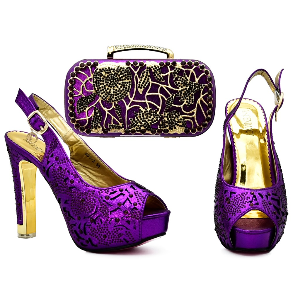 Purple african aso ebi wedding high heel shoes and bag set matching sandal women shoes and clutches bag with many stone SB8127-2 все цены