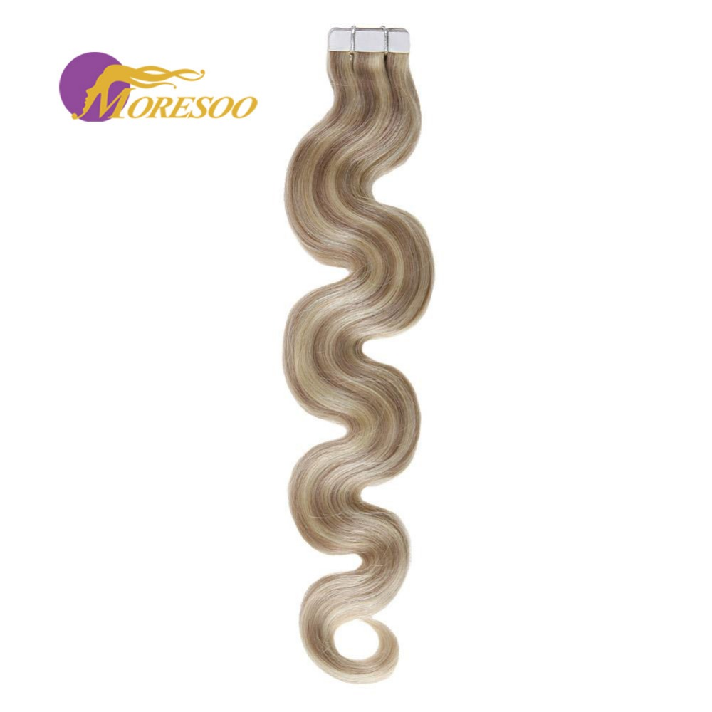 Moresoo Remy Tape In Hair Extension Human Hair Highlighted Color #18 Ash Blonde With #613 Blonde Body Wave Hair 20PCS/50G
