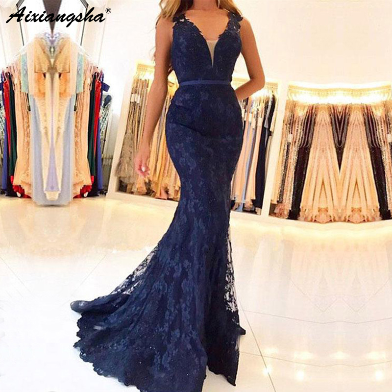 Navy Blue Muslim   Evening   Gown 2018 Illusion Lace Beaded Islamic Dubai Kaftan Saudi Arabic Mermaid Long Formal   Evening     Dresses