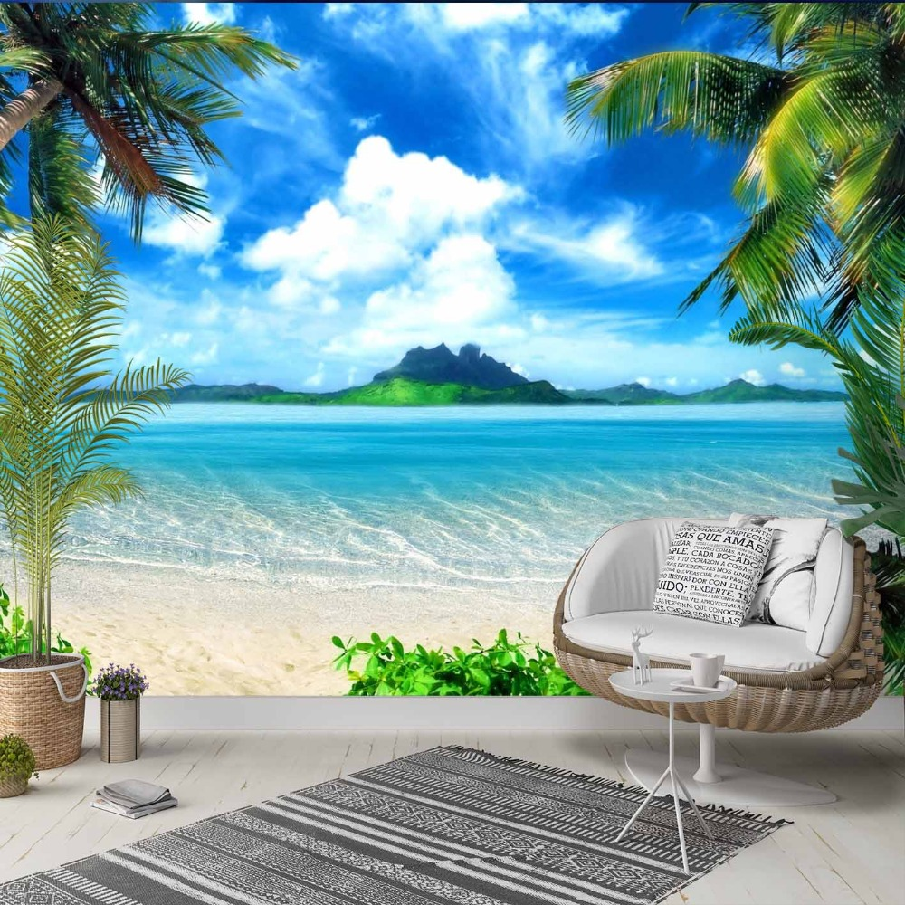 Else Blue Sky Clouds Palm Trees Beach Sand 3d Photo Cleanable Fabric Mural Home Decor Living Room Bedroom Background Wallpaper