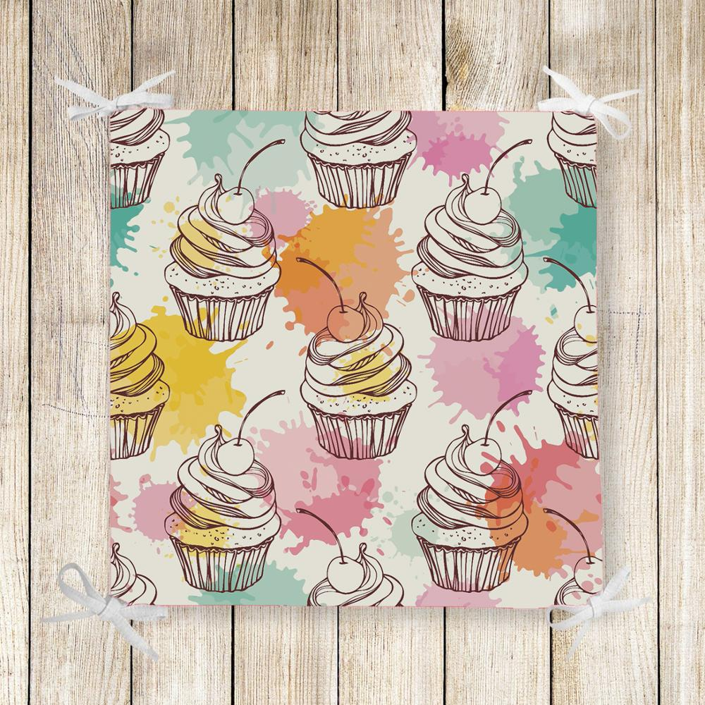 Else Pink Yellow Green Watercolor Cup Cakes 3d Chair Pad Seat Cushion Soft Memory Foam Full Lenght Ties Non Slip Washable Zipper
