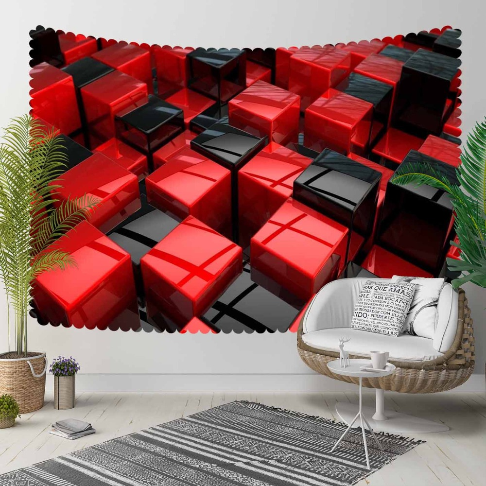 Else Red Black Abstract Cubes Box Geometric 3D Pattern Print Decorative Hippi Bohemian Wall Hanging Landscape Tapestry Wall Art