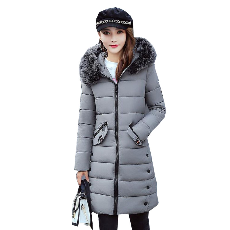 2017 New Women Winter Warm Hooded Faux Fur Collar Long Sleeve Puffer Down Cotton Long Outwear Coat Padded Jacket Parka Overcoat mcckle winter jacket with fur collar hooded cotton padded long puffer coat outwear women fashion thickening warm parka overcoat