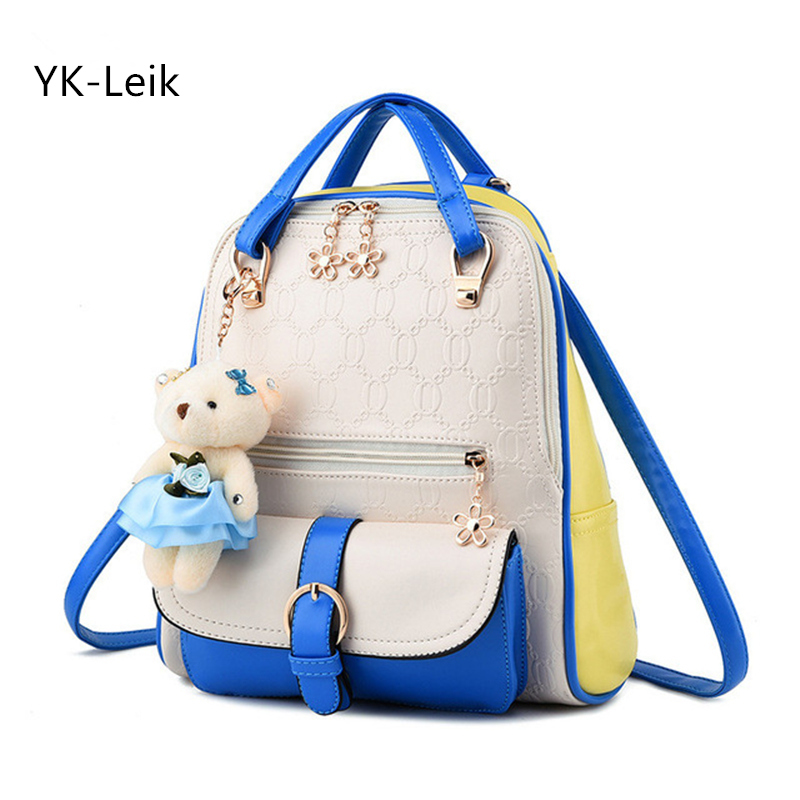 где купить  YK-Leik College Style Sweet Lady Shoulder Bag High Quality Embossed Pu Leather backpack women Ladies Fresh Backpacks School Bags  по лучшей цене
