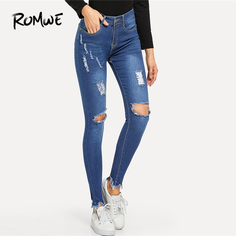 ROMWE Blue Knee Rips Skinny Denim   Jeans   Women Casual Spring Summer Plain Button Fly Pants Female Autumn Mid Waist Trousers