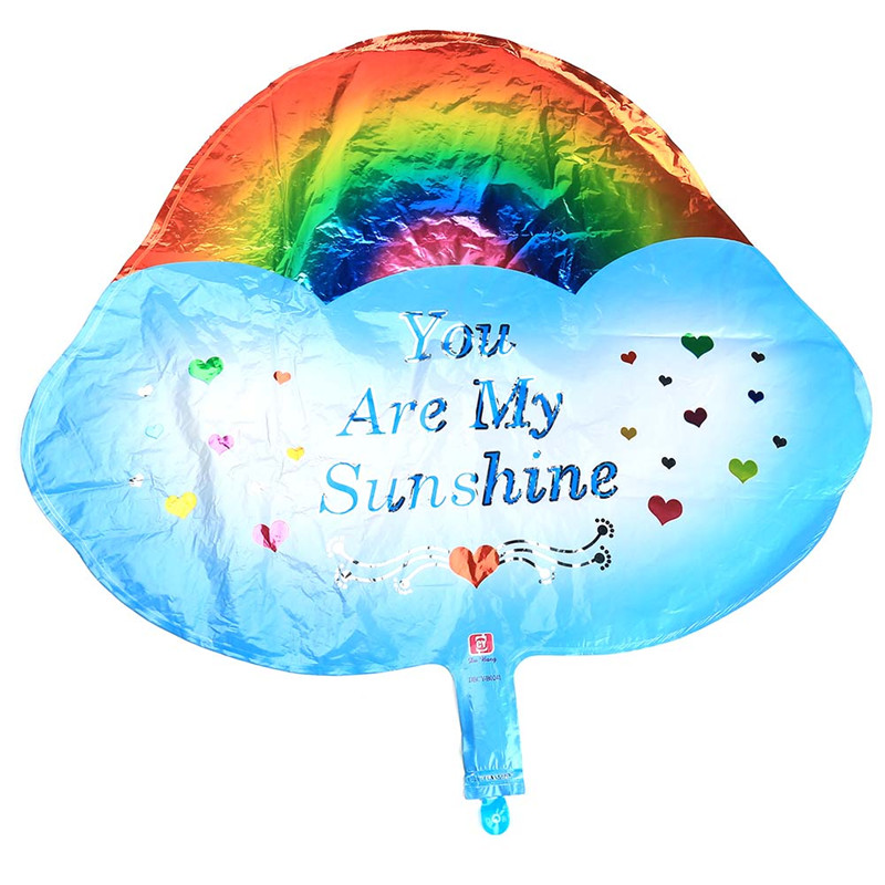 New Wedding Birthday You Are My Sunshine Rainbow Cloud Aluminum Balloon