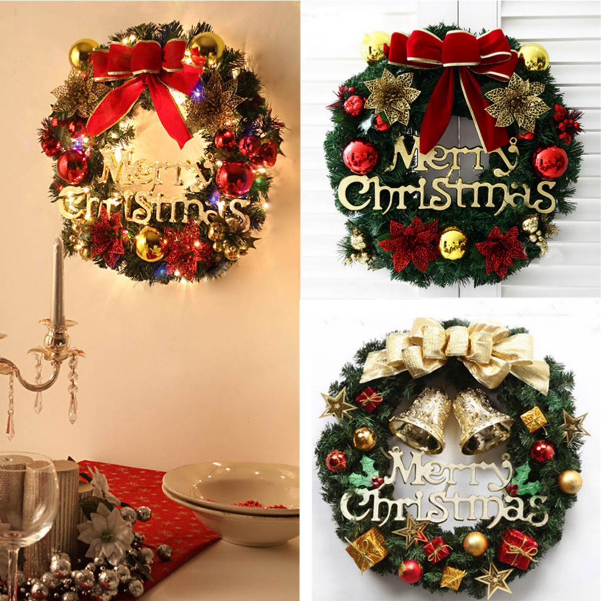 36cm Christmas Wreath Door Wall Tree Hanging Ornaments Garland ...