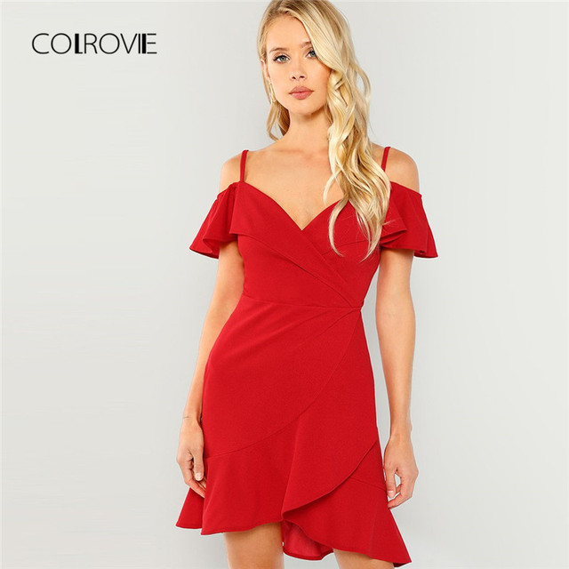 b71c72ccd36b COLROVIE Red V Neck Wrap Ruffle Sexy Bodycon Dress 2018 Autumn Cold Shoulder  Surplice Party Dress