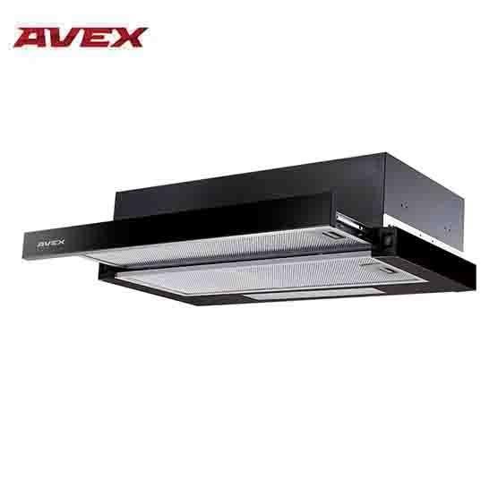 Вытяжка встраиваемая AVEX BS 6042 GB,  выдвижной жировой фильтр, черное стекло на передней панели, мощность всасывания 400 куб.м./час, ширина 60 см.