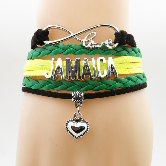 Infinity Love Jamaica Bracelet Heart Charm My Motherland Bracelets Bangles For Woman