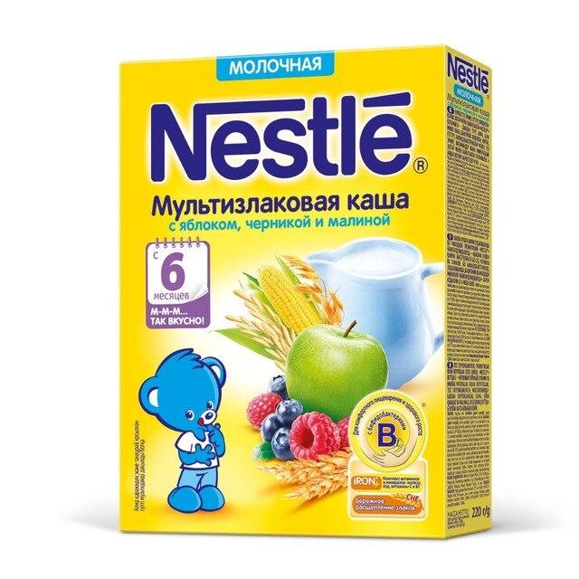 Nestle Молочная мультизлаковая каша с бананом и кусочками земляники (с 8 месяцев) 220 г