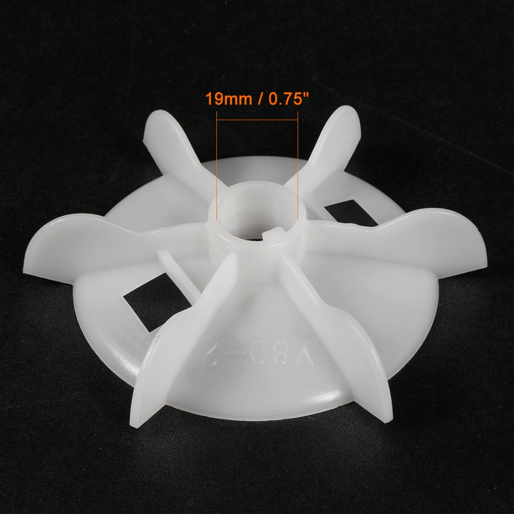 Uxcell 1Pcs Y80-2 111x19mm Round Shaft Replacement White Plastic 6 Impeller Motor Fan Vane Increase Cooling System Efficiency
