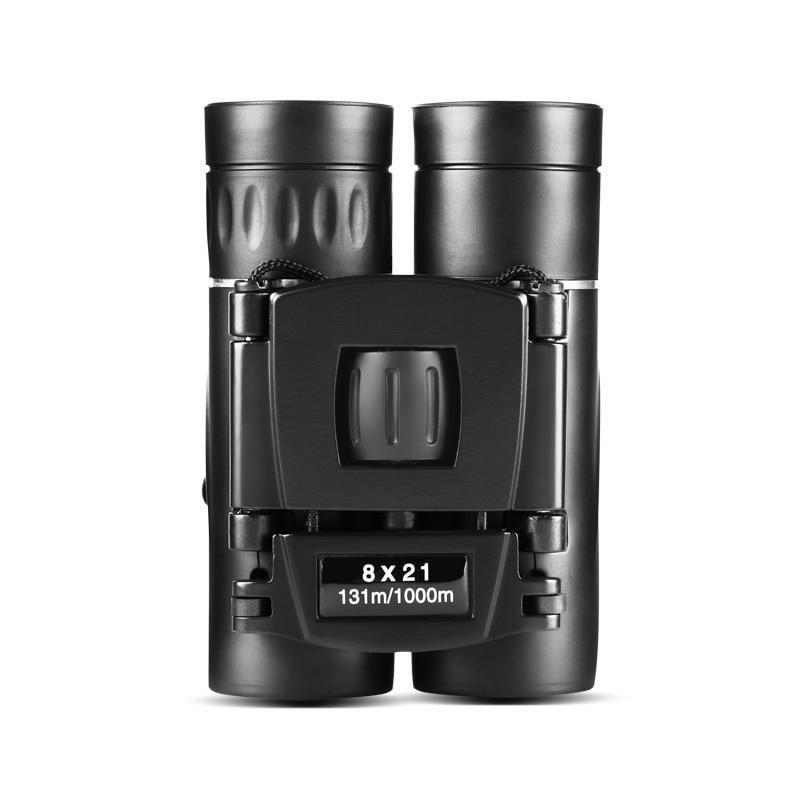 8x21 Compact Zoom Binoculars Long Range Folding HD Powerful Mini Telescope Bak4 FMC Optics Hunting Sports Black Kids Telescope 1